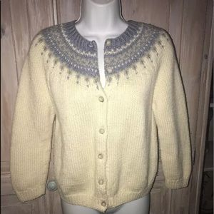 J.Crew Fair Isle Cardigan Sweater Petite Medium